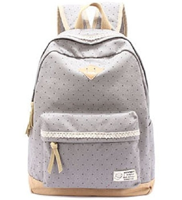 g2plus leichte schulrucksack mit polka dots nette canvas schultaschen damen m dchen extra gro. Black Bedroom Furniture Sets. Home Design Ideas